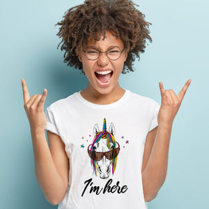 I'm here Unicorn Horse T-Shirts