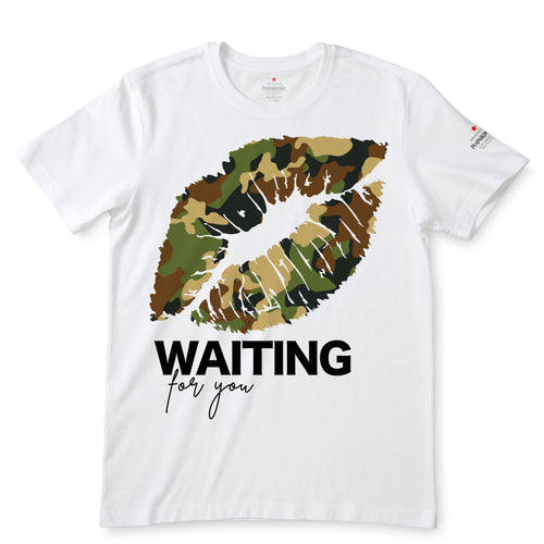 Camo Lips, Waiting For You White T-Shirts