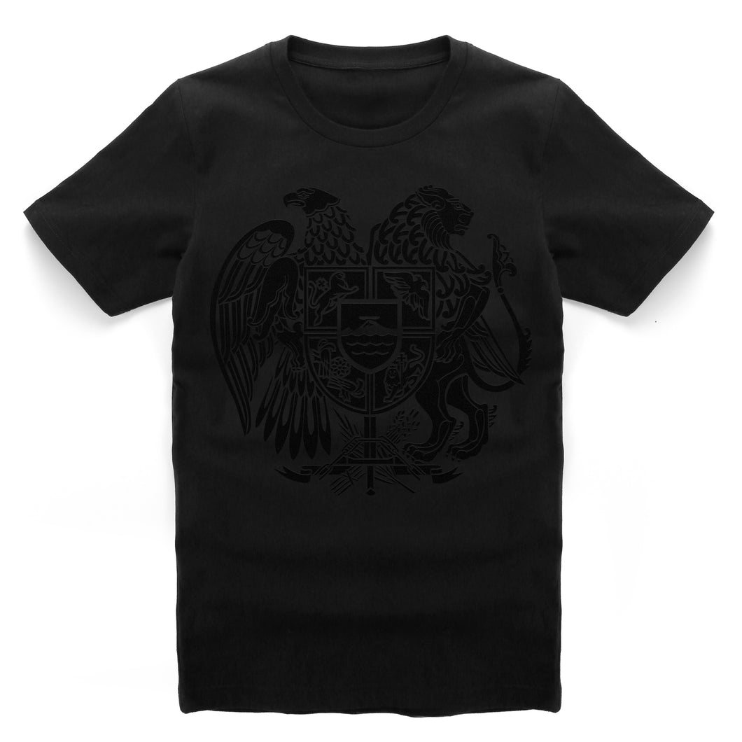 Armenia Black Suede Coat of Arms T-Shirts