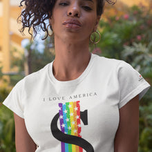 Load image into Gallery viewer, I Love America With Rainbow White T-Shirts