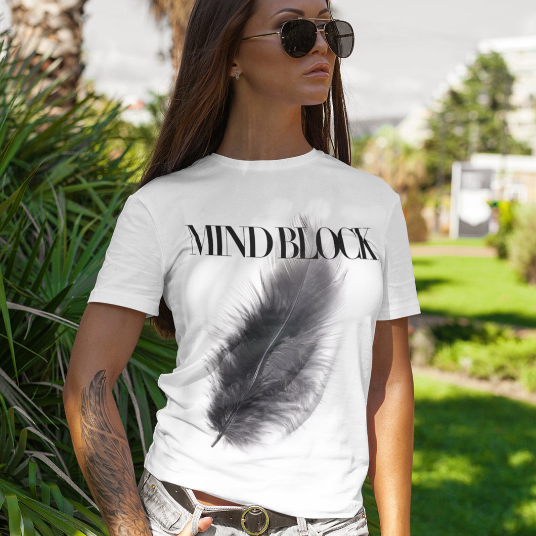 Black Feather White T-Shirts