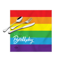 "Load image into Gallery viewer, Rainbow Birthday Cloth Dinner Napkins , 17""x17"""