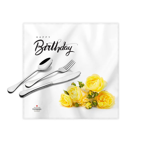 Happy Birthday Yellow Roses Cloth Dinner Napkins , 17