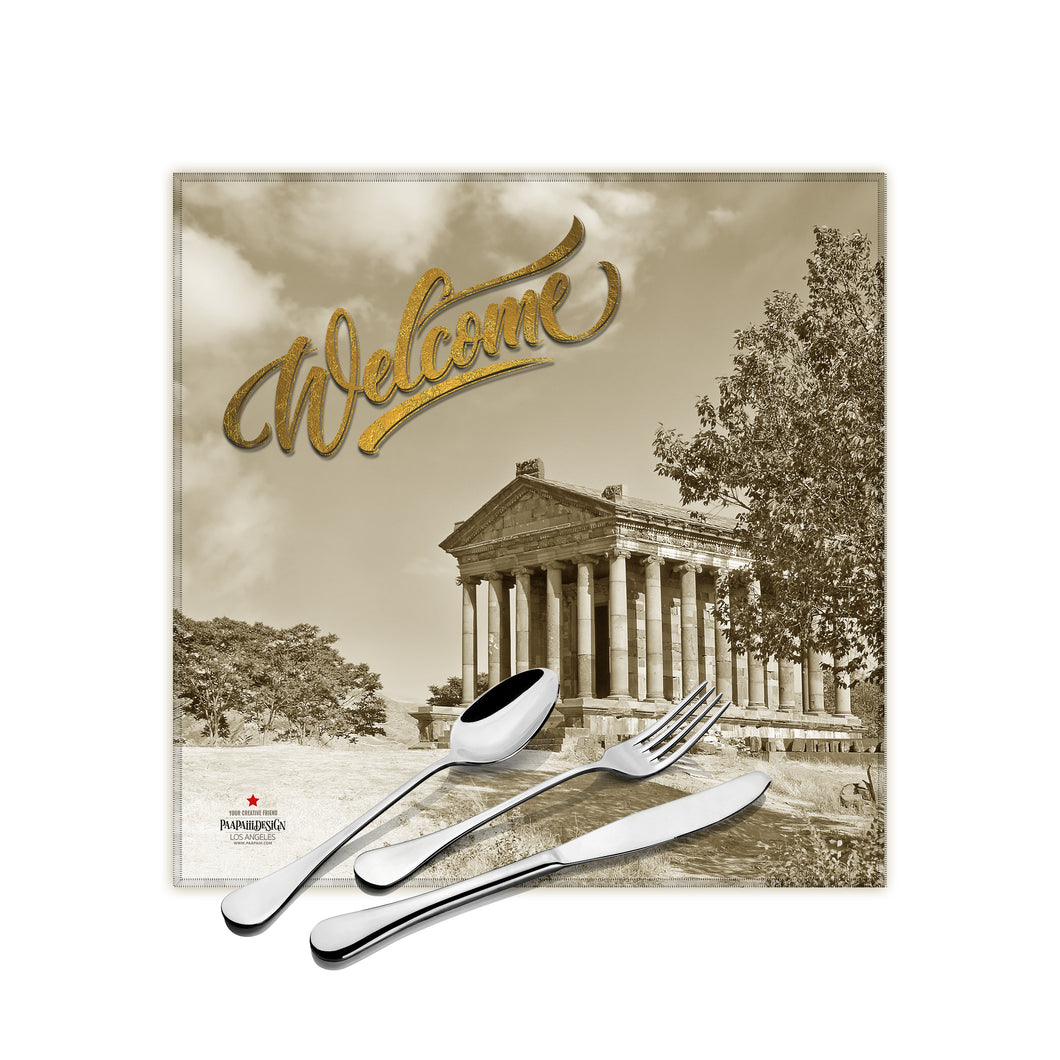 Temple of Garni Elegant Cloth Dinner Napkins, 17