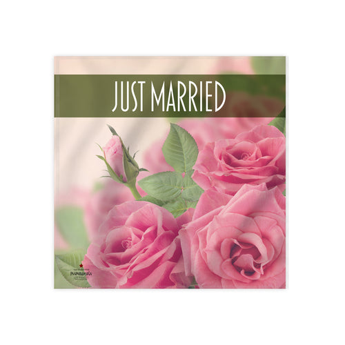 Pink Roses Just Married Cloth Dinner Napkin, 17''x17''