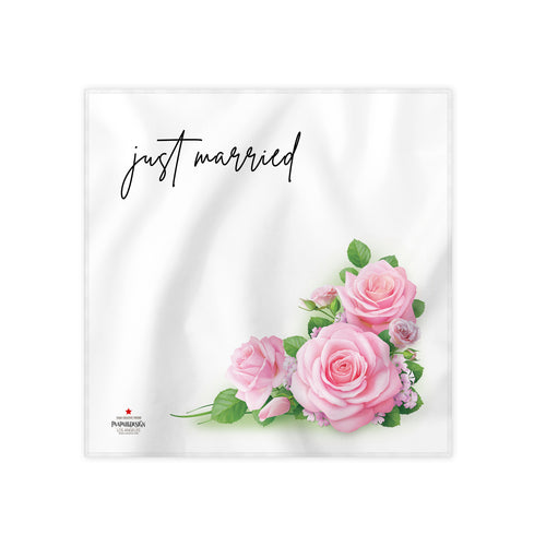 Just Married White Cloth Dinner Napkin, 17''x17''