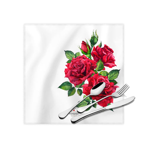 Red Roses Cloth Dinner Napkins , 17