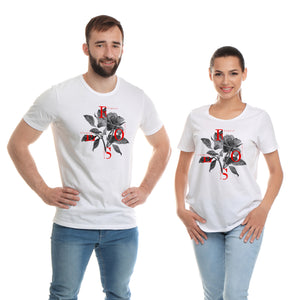 Elegant Rose White T-Shirts
