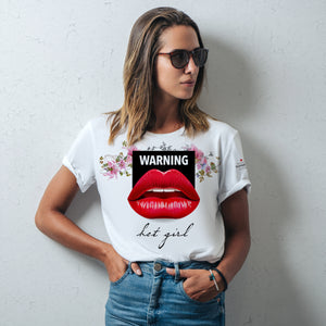 Warning, Hot Girl White T-Shirts