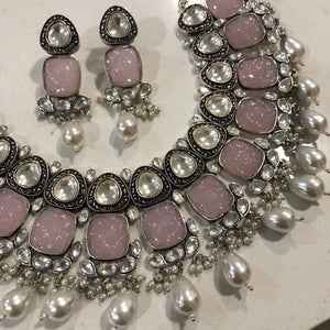 Antique Silver & Lavender Pink Necklace Set-ARZIA