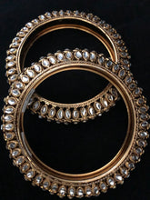 Load image into Gallery viewer, Crystal & Gold Bangles - Pair Size 2.6-ARZIA