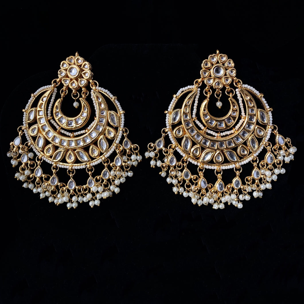 Kundan & Gold Earrings - White