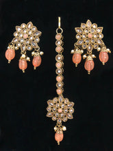 Load image into Gallery viewer, Peach Necklace Set - Polki-ARZIA