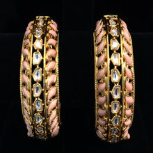 Load image into Gallery viewer, Hand Painted Kundan Bangles - Pink