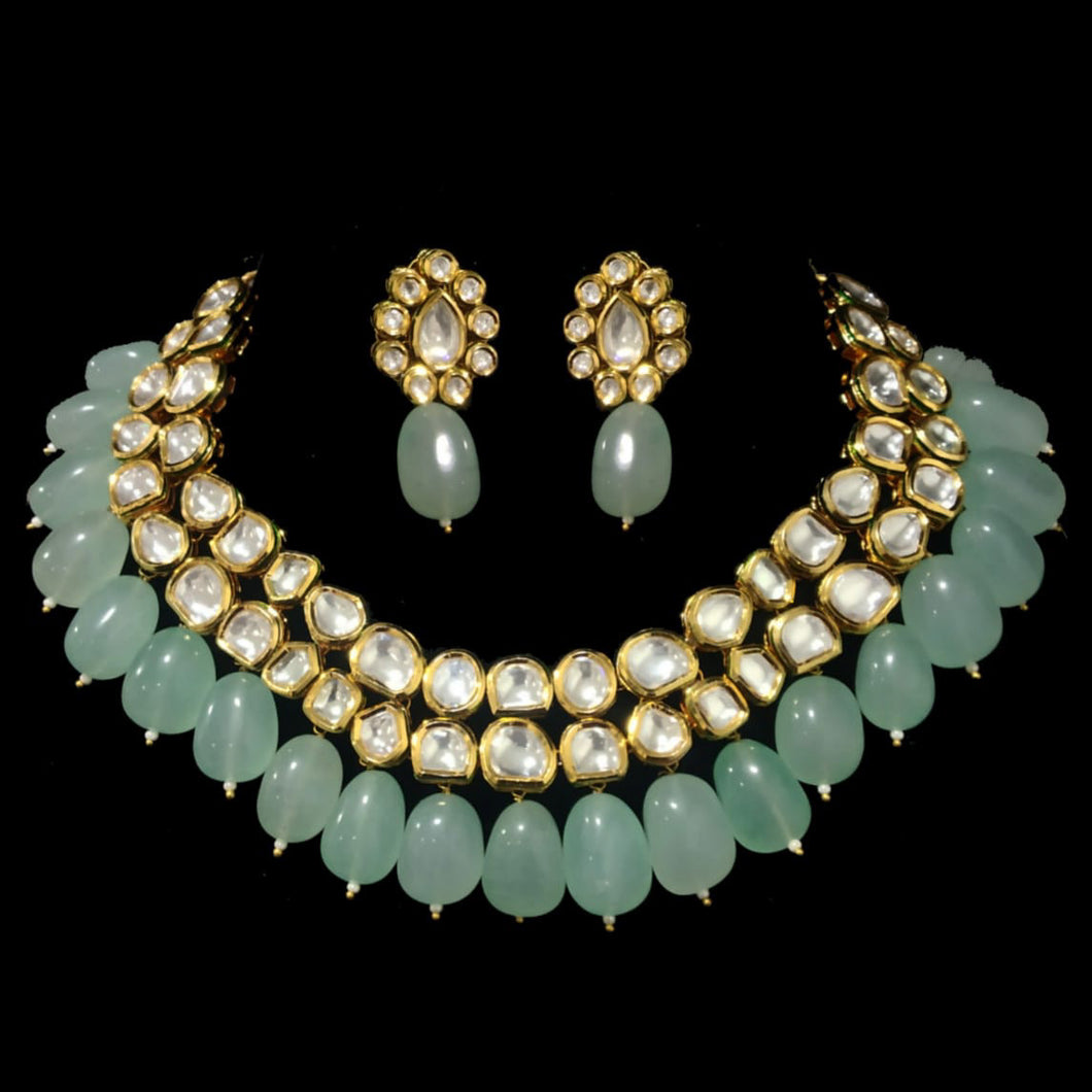 Gold & Kundan Necklace Set - Mint Green