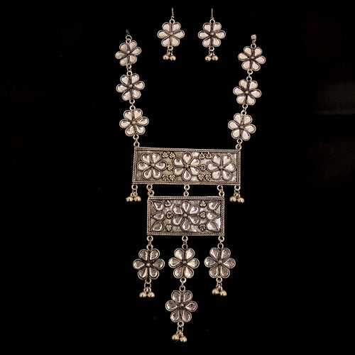 Silver Floral Statement Necklace Set