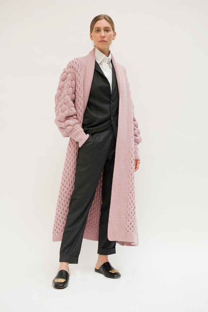 Exclusive Hand Knitted Rose Cashmere Coat