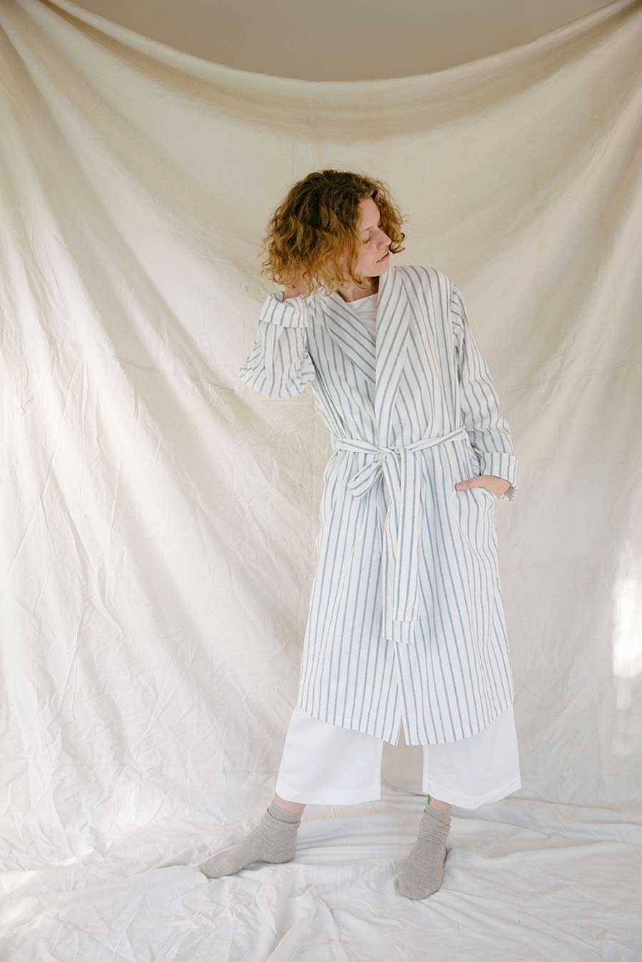 General Sleep Unisex Robe in Stripe