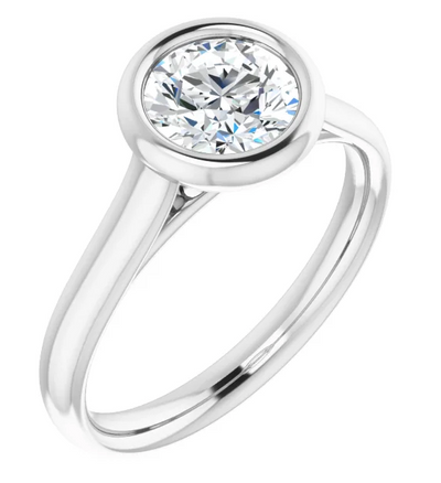 Round Bezel Set Diamond Solitaire