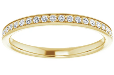 Channel Set Half Pavé Diamond Wedding Band