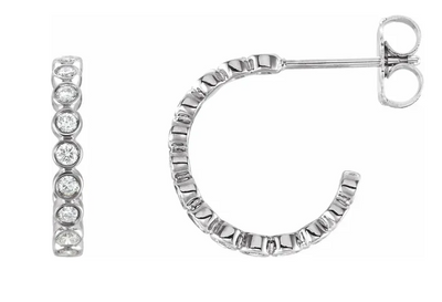 Round Diamond Bezel Hoop Earrings