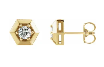 Diamond Geometric Stud Earrings