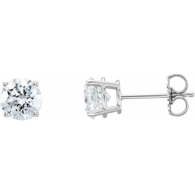 Round Diamond Stud 4-Prong Earrings