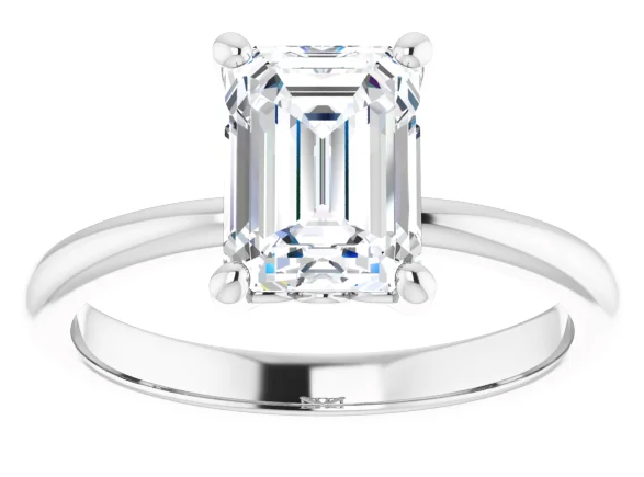 Emerald 4-Prong Diamond Solitaire