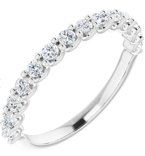 Half Pavé Diamond Wedding Band - Large Stones