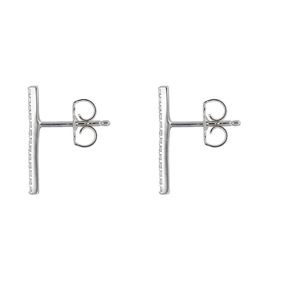 Pavé Diamond Bar Earrings