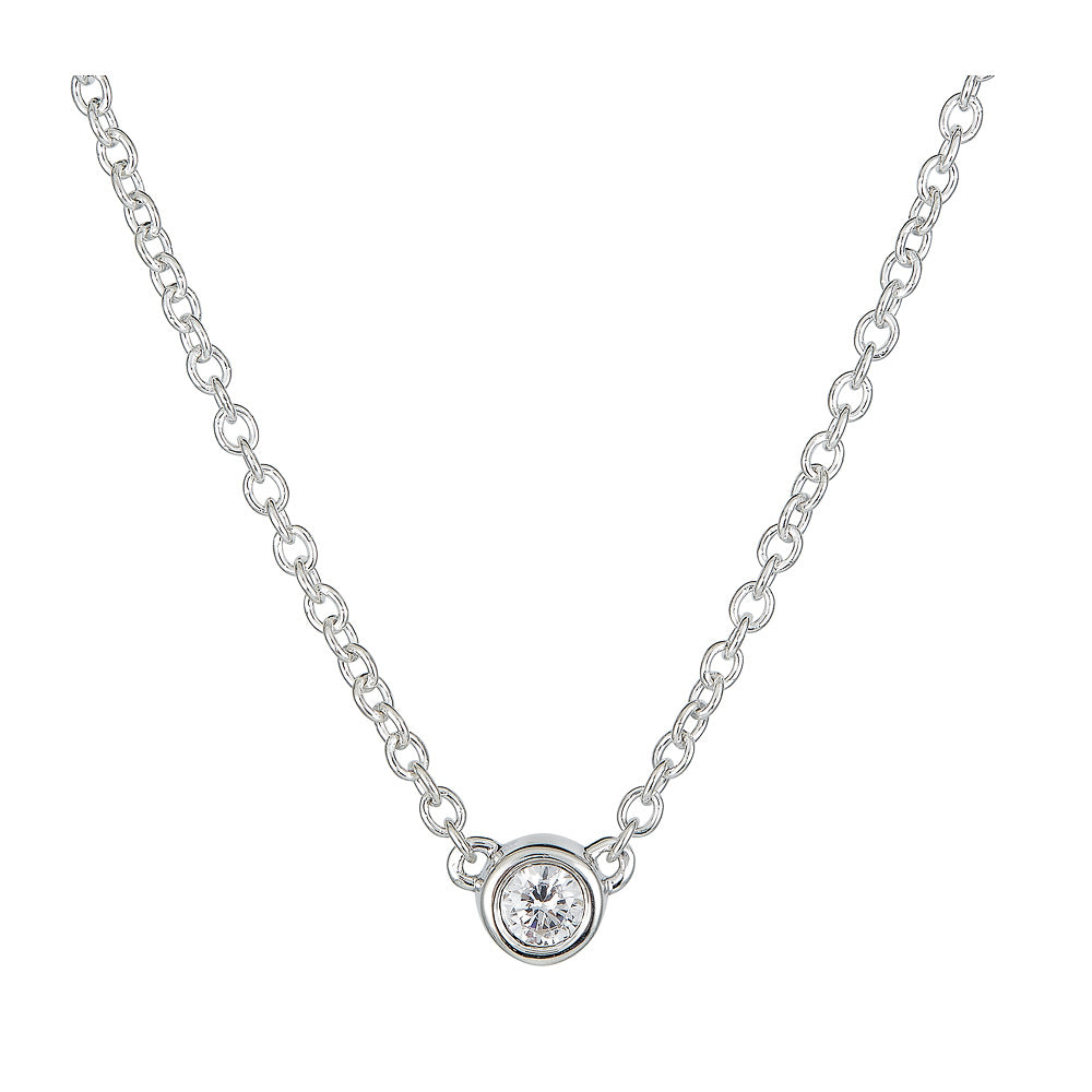 Petite Round Bezel Set Diamond Necklace
