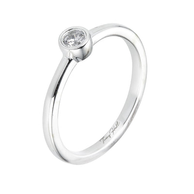 Petite Round Diamond Bezel Set Solitaire Ring
