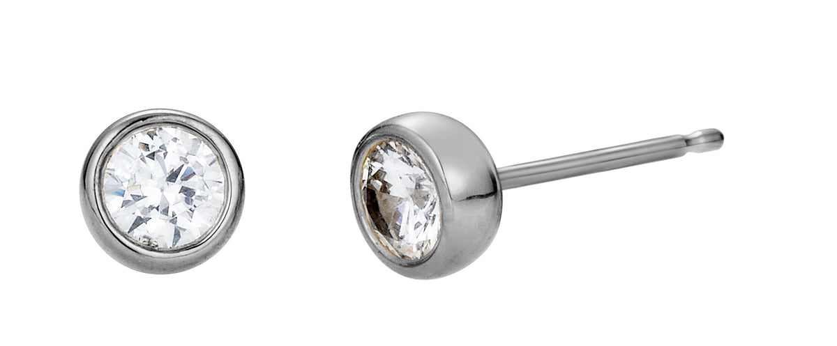 Round Diamond Bezel Set Stud Earrings