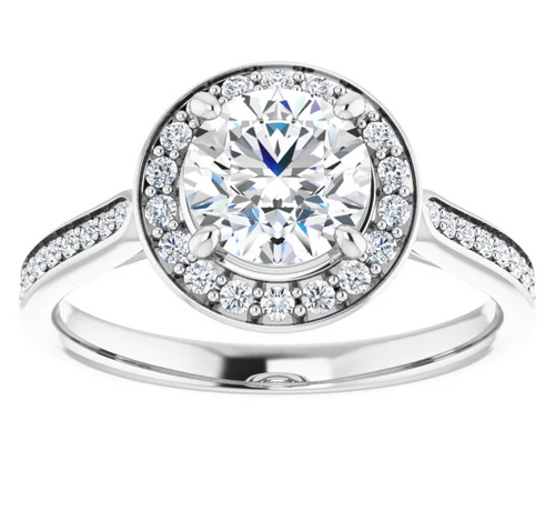 Round Halo Diamond Ring with Pavé Band and Interior Accent Stones