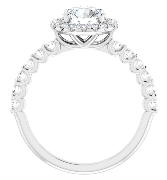 Round Halo Diamond Ring with Studded Band
