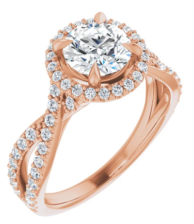 Round Halo Diamond Ring with Braided Split Shank Pavé Band