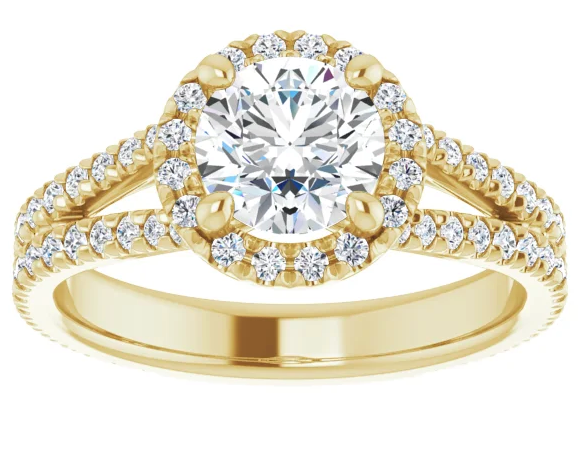 Round Halo Diamond Ring with Split Shank Pavé Band