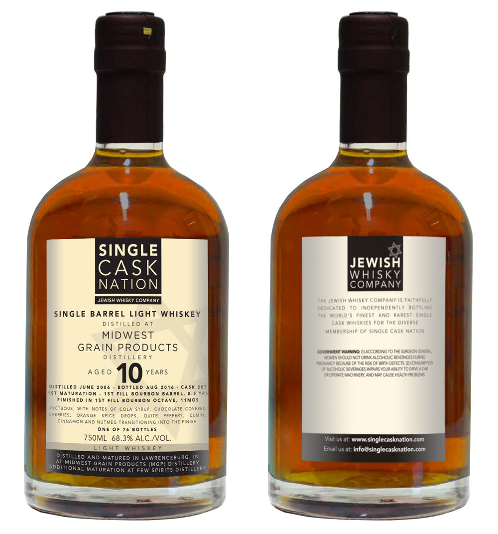 MGP Light Whisky 10yo, Cask 287, Bourbon Octave Finished - ARCHIVED