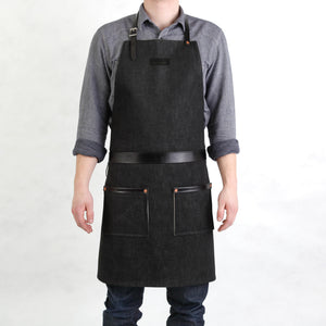 Rugged Apron - Waxed Denim - Black