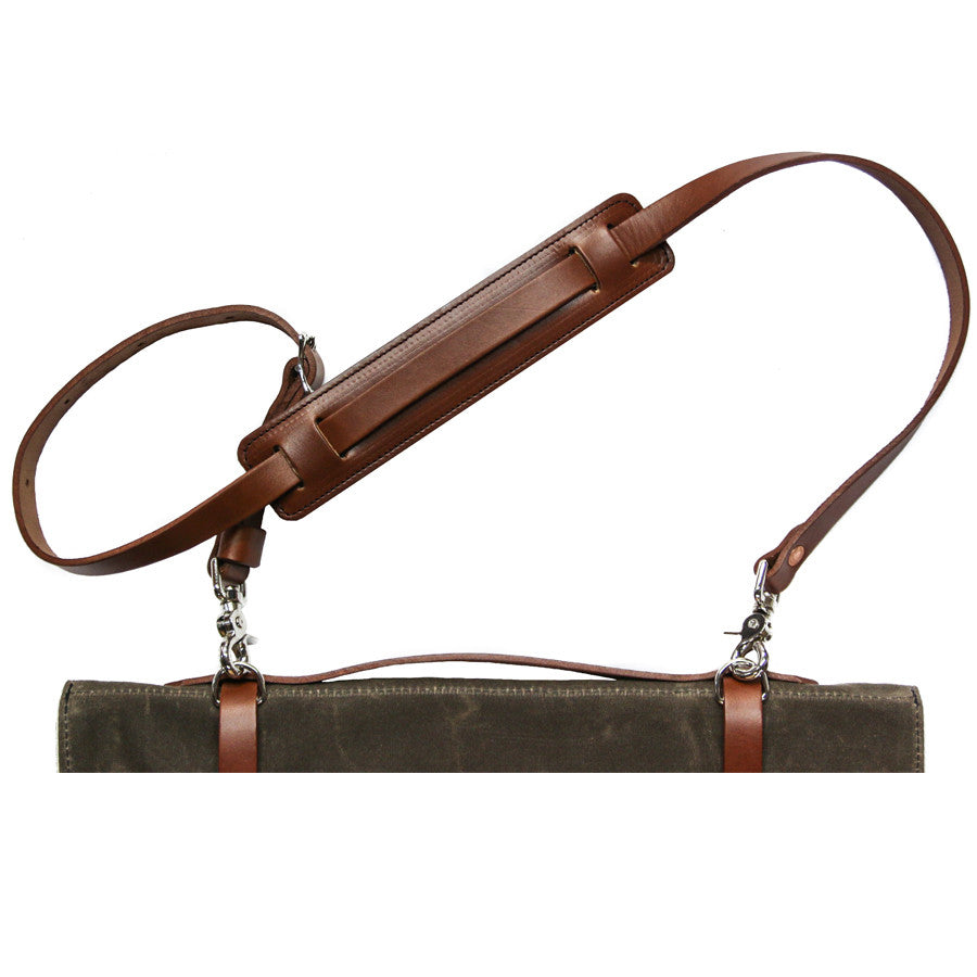Knife Roll Shoulder Strap - Brown Leather