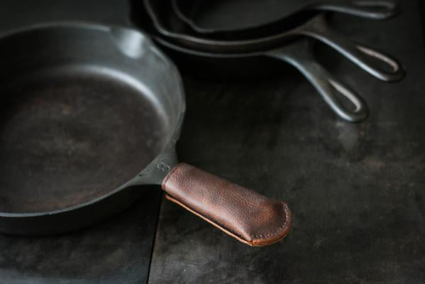 Leather Cast Iron Skillet Handle Cover Long