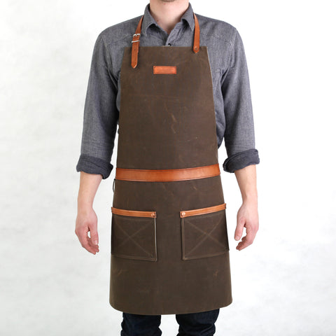 Rugged Apron - Waxed Canvas - Dark Oak