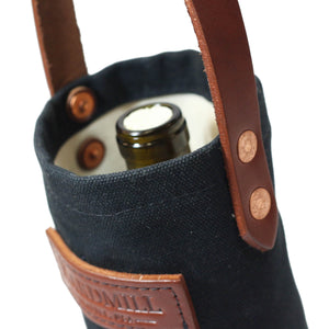 Wine Tote - Waxed Canvas - Black