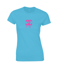 Load image into Gallery viewer, CC pink Ladies Fitted T-Shirt