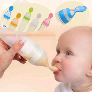 Baby Silicone Feeding Bottle With Spoon Dispenser