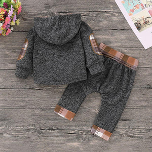 Casual Plaid Hooded Long-sleeve Shirt and Pants Set for Baby