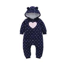 Load image into Gallery viewer, Blue Pink Heart Baby and Toddler Jumpsuit onesie Romper