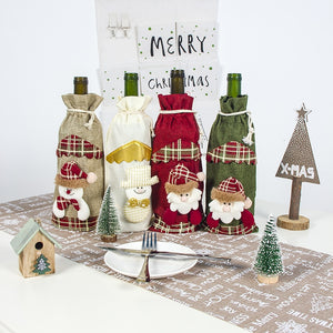 Christmas Wine Bottle Covers: Santa Claus, Snowman Xmas Bags Party Table Home Decor