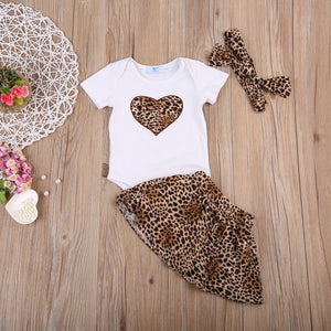 Baby Leopard Print Romper and Skirt Set