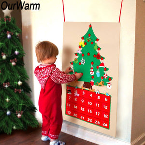 DIY Felt Christmas Advent Calendar with Pockets and Hanging Ornaments